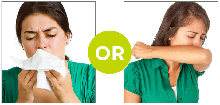 cover cough with tissue or cough into elbow