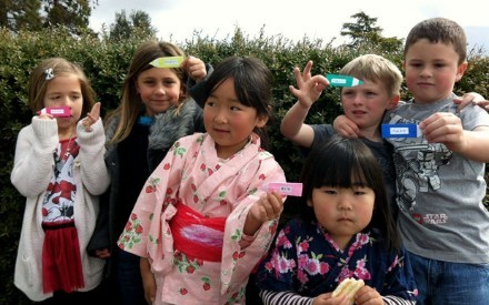 CULTURAL EXCHANGE - Parent Chiharu Akaboshi recently brought Japaesee culture to Room K at El Centro Elementary School. On this day students learned to write their names in Japanese. Students pictured are Hayden Hulquist, Lindy Mcdermott, Makenzie Madsen, Aiden Davis, Aina and Kanna Akaboshi.