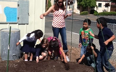 EARTH DAY - Kinder students at Shearer Charter school celebrate Earth Day by planting a Sunflower House.