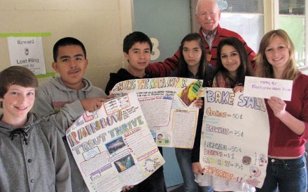 AQUATIC BUDGET - Six 8th graders at River middle school did a project about maintaining the balance of aquatic resources in the Napa River. From a bake sale they donated $75.21 to Friends of the Napa River. Picture shows from left: Nolan Brown, Pablo Roldan, Michael Blatteis, Cristina Castillo, Tamar Weir, Haley Schotte; Bernhard Krevet in background.