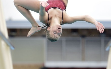 Elizabeth Wright of Vintage High School competes in early round action of the Monticello Empire League diving championships at Vintage High School on Thursday morning.