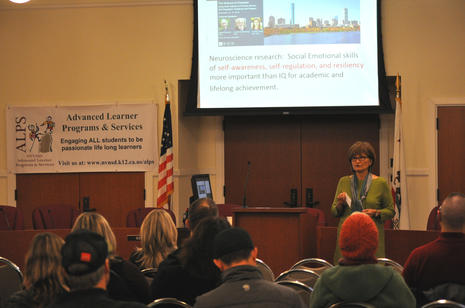 Linda Inlay addresses parents at the recent parent workshop: Helping your  student develop self-management skills.